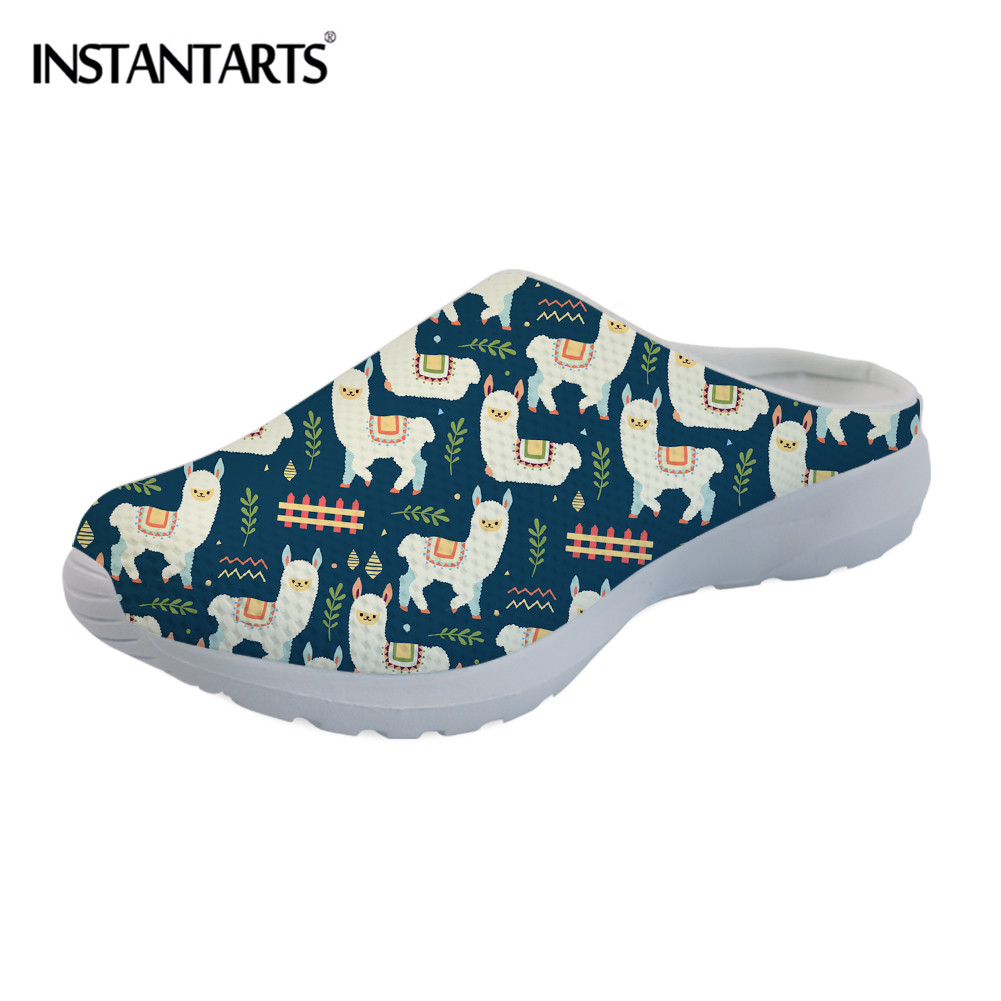 Custom Womens Slip On Loafer Llama Cactus Shoes Comfy Ladies Casual Flats