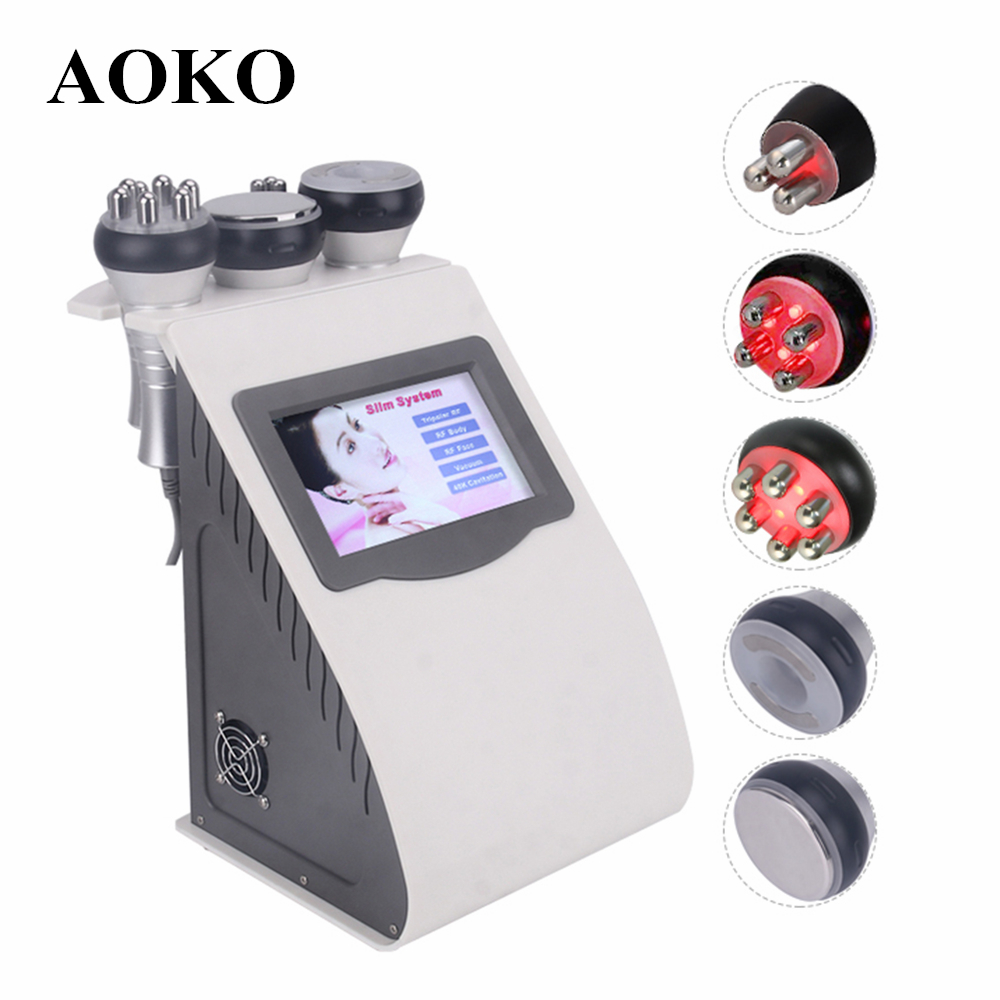 AOKO New 5 In 1 Ultrasonic Liposuction 40K Cavitation Body Slimming Machine Vacuum Multipolar RF Beauty Device For Face And Body
