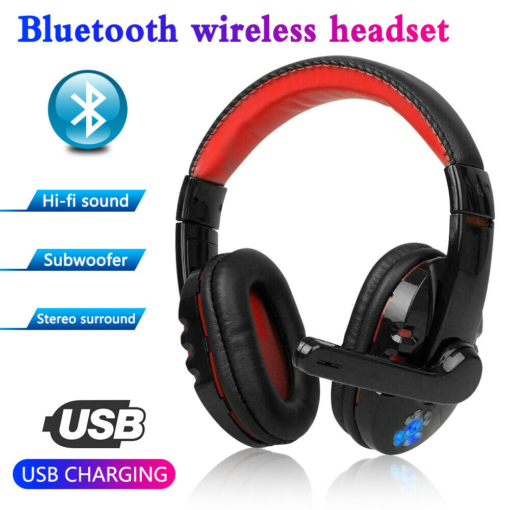 LED Bluetooth Gaming Headset Wireless Headphone Closed-back Design Over-ear with Adjustable Mic Headband for PC Laptop Games image