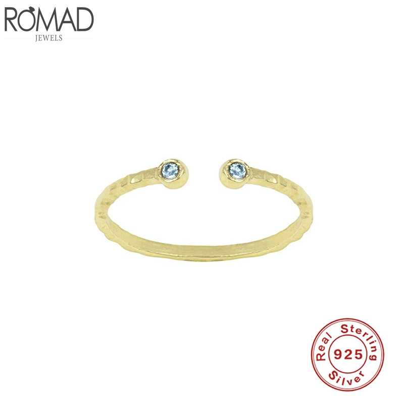 Romad Minimalist 925 Sterling Silver Finger Rings 12 Colorful Red Yellow Blue CZ Rings For Women Fine Jewelry Bague Anillos W5