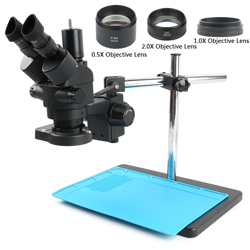3 5X-90X Simul-Foca Trinocular Stereo Microscope 144 LED Illumination Ring Light Work Mat For PCB Board Soldering Repair