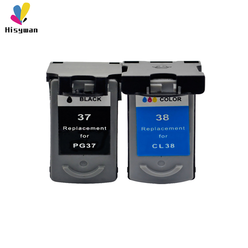 hisywan PG37 CL38 ink cartridge For <font><b>Canon</b></font> <font><b>PG</b></font> <font><b>37</b></font> CL 38 PIXMA MP140 MP190 M210 MP220 MP420 IP1800 IP2600 MX300 MX310 printer image