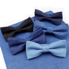 Tuxedo Necktie Bowtie Butterfly Kids Cotton Boy Children Solid Baby Denim