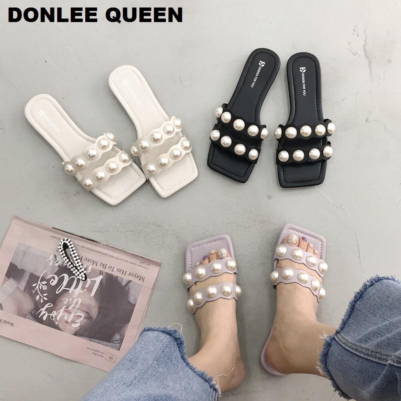 Fashion Pearl Design Flat Slippers Women Wave Pattern Strap Sandals Women Open Toe Beach Flip Flops Slides Casual Slippers  2020
