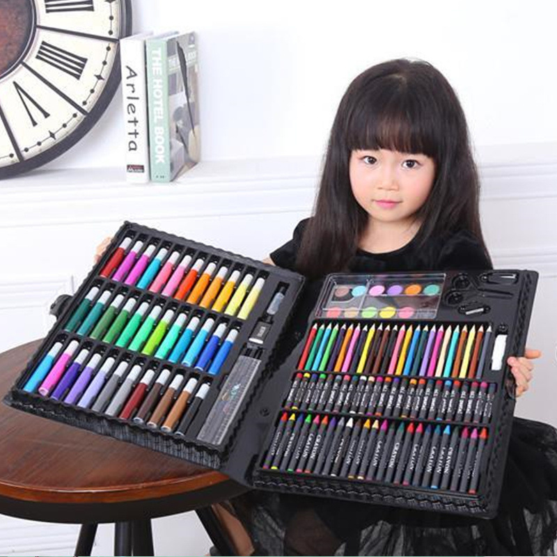 Children Watercolor Pen Set 168-Piece Young STUDENT'S Watercolor Pen Gift Box Drawing Pen Crayon Painting Birthday Gift