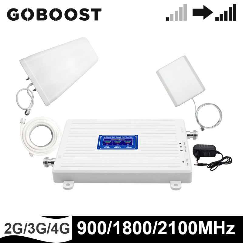 GOBOOST Tri-Band Repeater 2g 3g 4g Cell Phone Signal Booster 900 1800 2100 MHz Amplifier 4g Antenna Cables Set