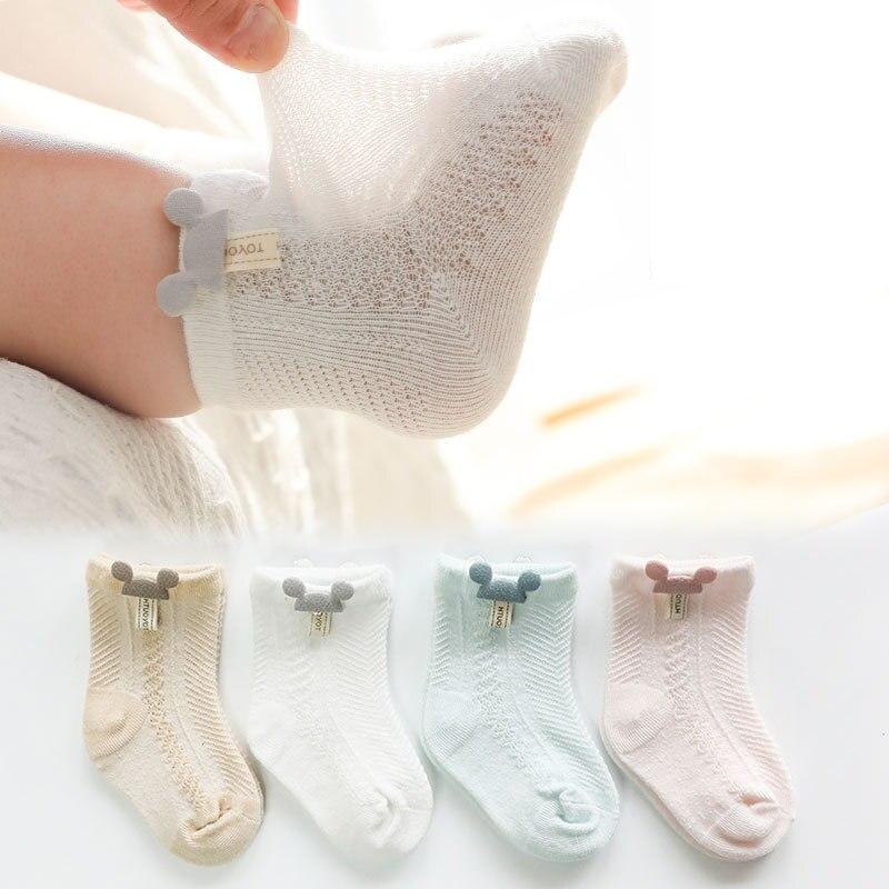 3 Pairs / Lot Newborn Baby Socks Cartoon Socks Cotton Thin Section Mesh Socks Boys Girls Children Boneless Socks