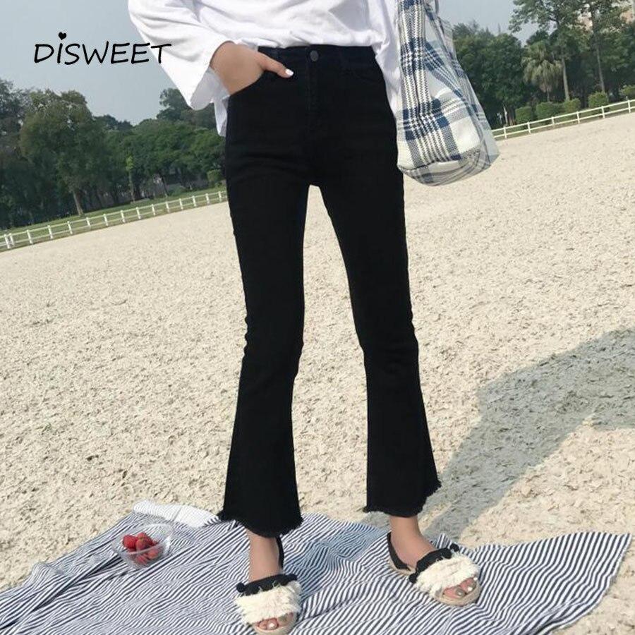 2019 koreańskiej wersji jednokolorowych obcisłych rozkloszowanych spodni wysokiej talii modnych damskich dżinsów Harajuku eleganckie spodnie dla kobiet 1