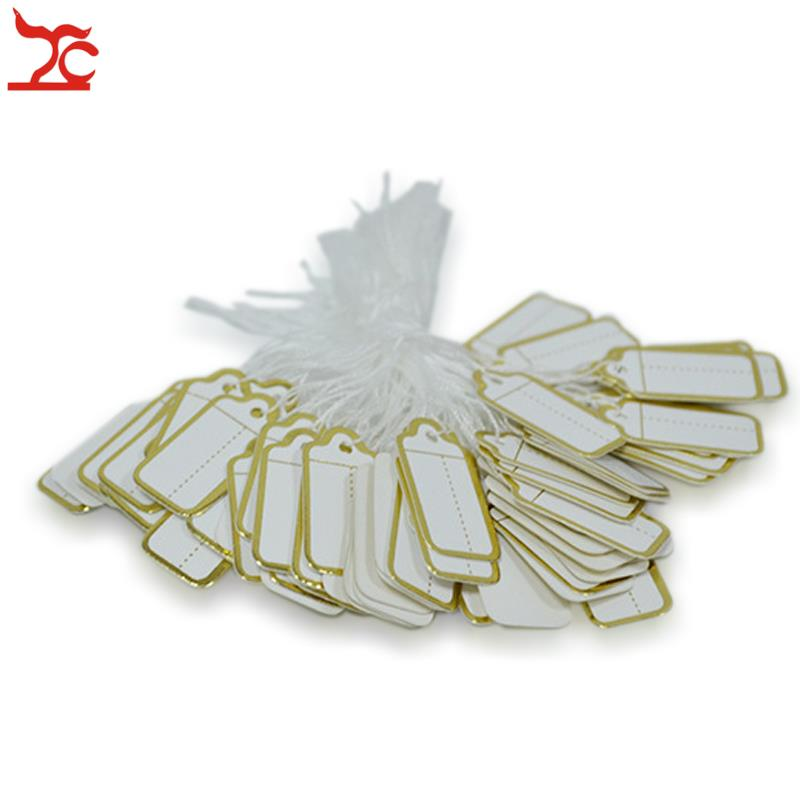 Sale 100PCS/string Tie-on Price Tags With Strings For Jewelry With Silver Label Promotion