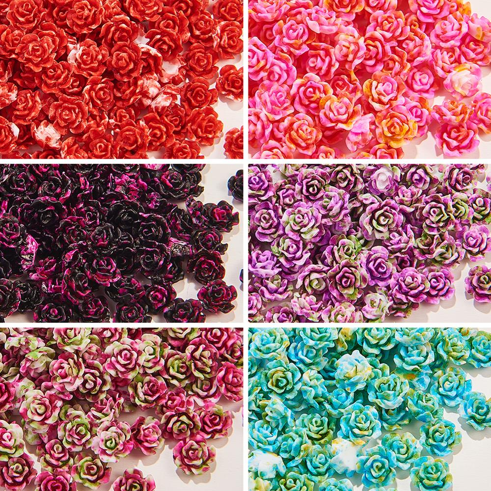 Resin Cabochons 3D Flowers Nail Art Decoration Spray Painted Decals Stone DIY Manicure Art Decors Accessories