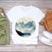 Женская летняя футболка с коротким рукавом и принтом «Луна ночь»