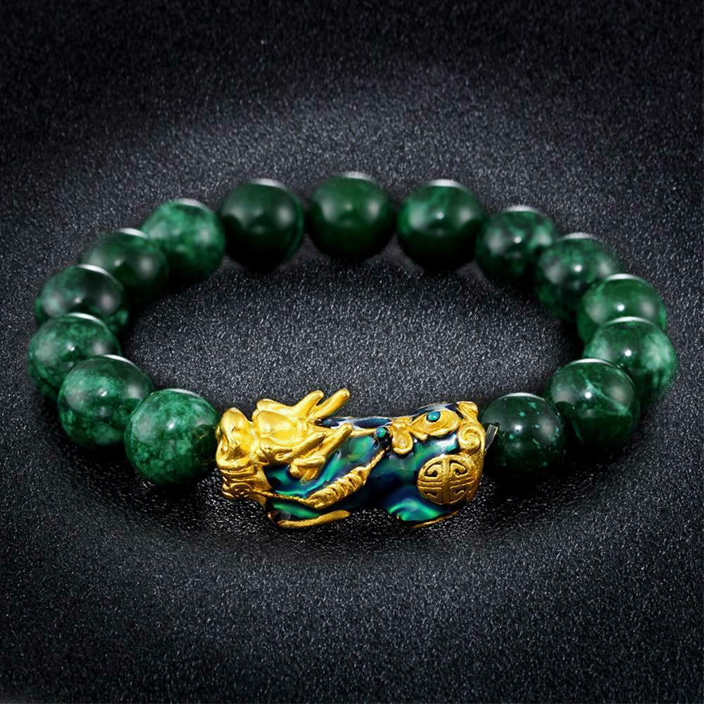 Stone Beads Bracelet Men Women Unisex Chinese Feng Shui Pi Xiu Obsidian Wristband Gold Wealth & Good Luck Pixiu Women Bracelets