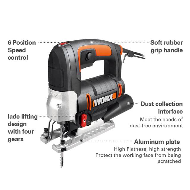 Worx Electric jigsaw WX478.1 650W Scroll Saw Mini Electric Tools Variable Speed Saw Household Power Tools +Dust Blower &Tool box