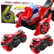 Die Cast toys for Boys 2 in 1 Pull Back Cars Toys 1:32 Scale Catapult Motorcycles with Cool Lights and Sound Children Table game