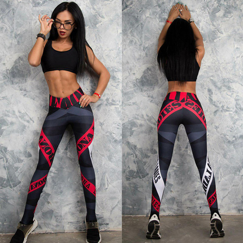2019 New Women Breathable Leggins Fitness Leggings Elastic Female Workout Slim Letter Printed Leggings Running Gym pants