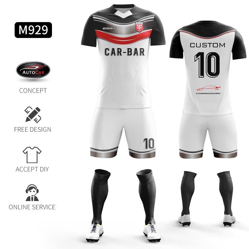 Custom Football Jerseys Full Sublimation Printing Soccer Jerseys Club Team Football Training Uniform Suit Soccer Uniform For Men 18