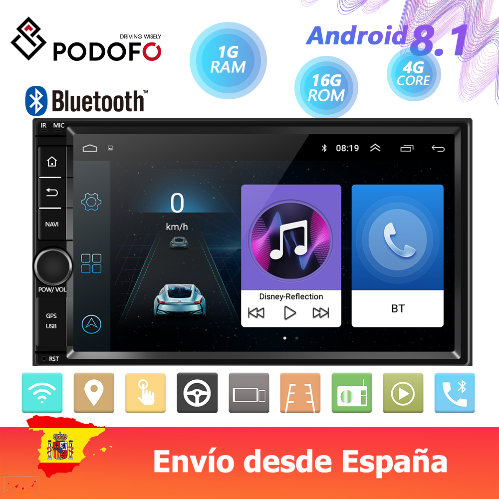 Android 8.1 Car Multimedia Player 2 Din 7'' HD Touch Screen Car Radio Bluetooth GPS Mirror Link  WIFI Dash Dash Camera FM Radio