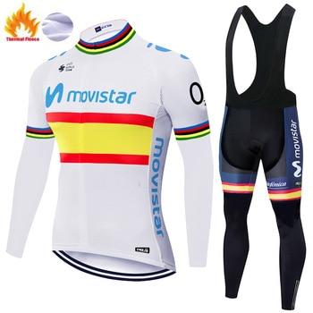 Movistar-jersey de ciclismo para hombre, ropa térmica de lana para ciclismo, para...