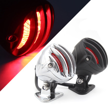 Motorcycle Alloy Retro Grill Adjustable LED Taillight Stop Signal Brake Tail Light For Harley Chopper CafeRacer Scrambler Bobber
