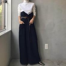 Loose Wide Legs Jumpsuit Women Korean Elegant Long Sleeve White T-shirt and Denim Cloth Patchwork Fashion Rompers Long Playsuit