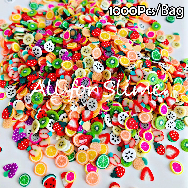 1000pcs Fruit Slices Addition For Slime Fruit Fimo Filler For Lizun Diy Charms Slime Accessories Supplies Nail Mobile Decoration