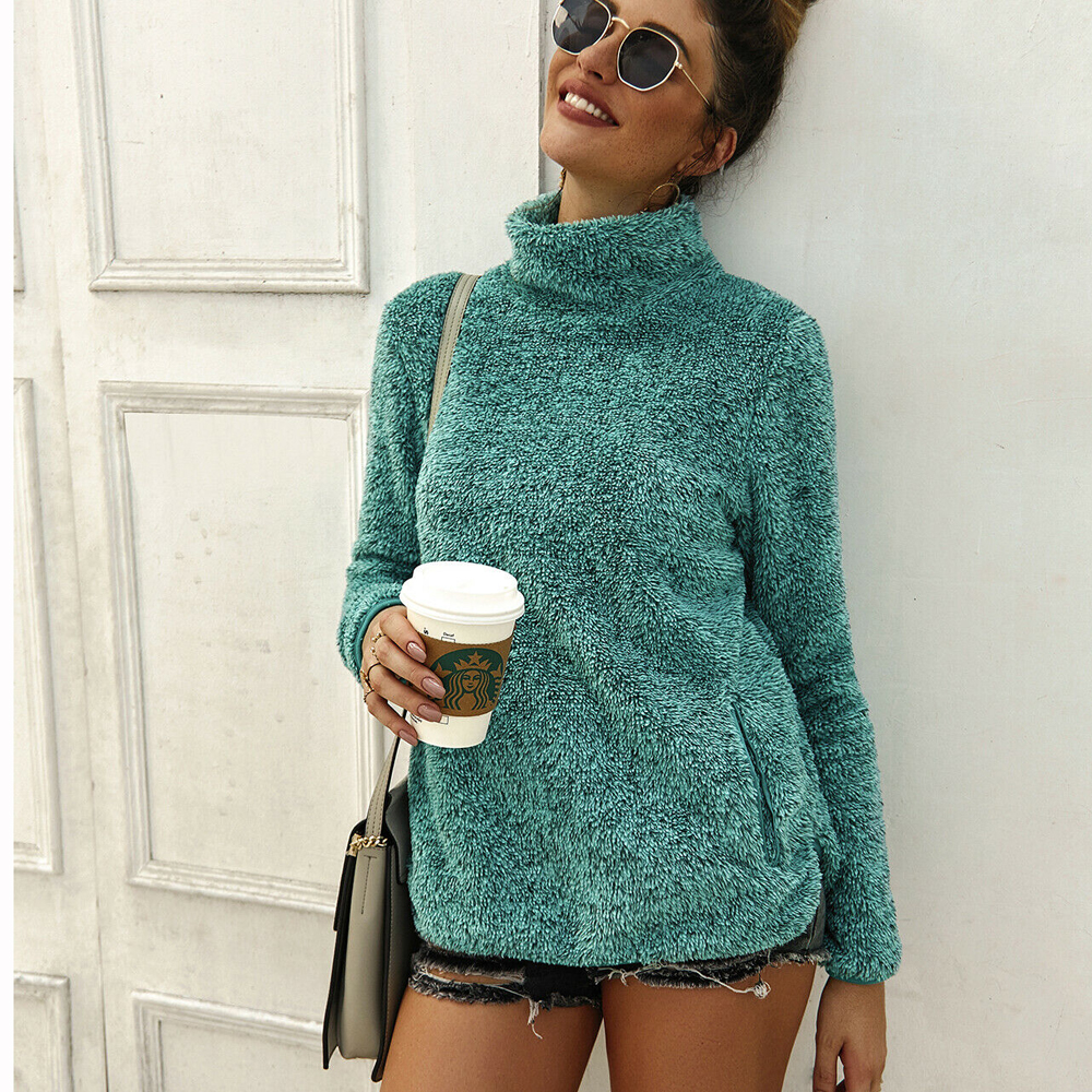 Hot Autumn Women's Long Sleeve Pullover Sweater Jumper Winter Warm Fleece Fur High Neck Ladies Casual Outwear Pullover Tops 2019