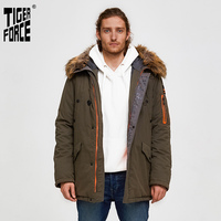 TIGER FORCE 2019 Men Parka Padded Coat Men's Winter Jacket Mens Thick Parkas Waterproof Artificial Fur Outerwear Winter Jacket