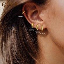 ROXI Minimalism Pendientes Round Glossy Hoop Earrings for Women Cartilage Kolczyki 925 Sterling Silver Fine Jewelry 5/6/7/8/9mm