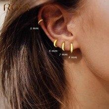 ROXI – boucles d'oreilles rondes et brillantes en argent Sterling 925, bijoux fins pour femmes, Cartilage Kolczyki, 5/6/7/8/9mm