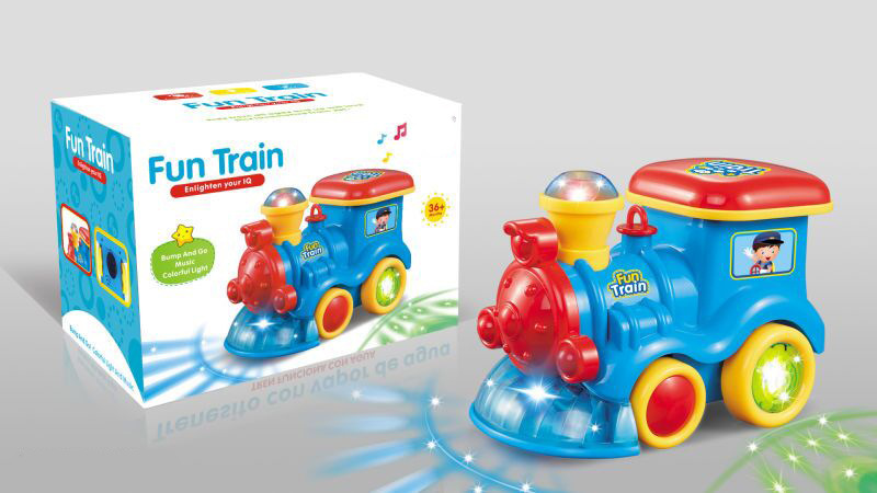 Children Electric Universal Wheel Light Music Locomotive Baby Educational Early Childhood Baby Cartoon Train Toy Car