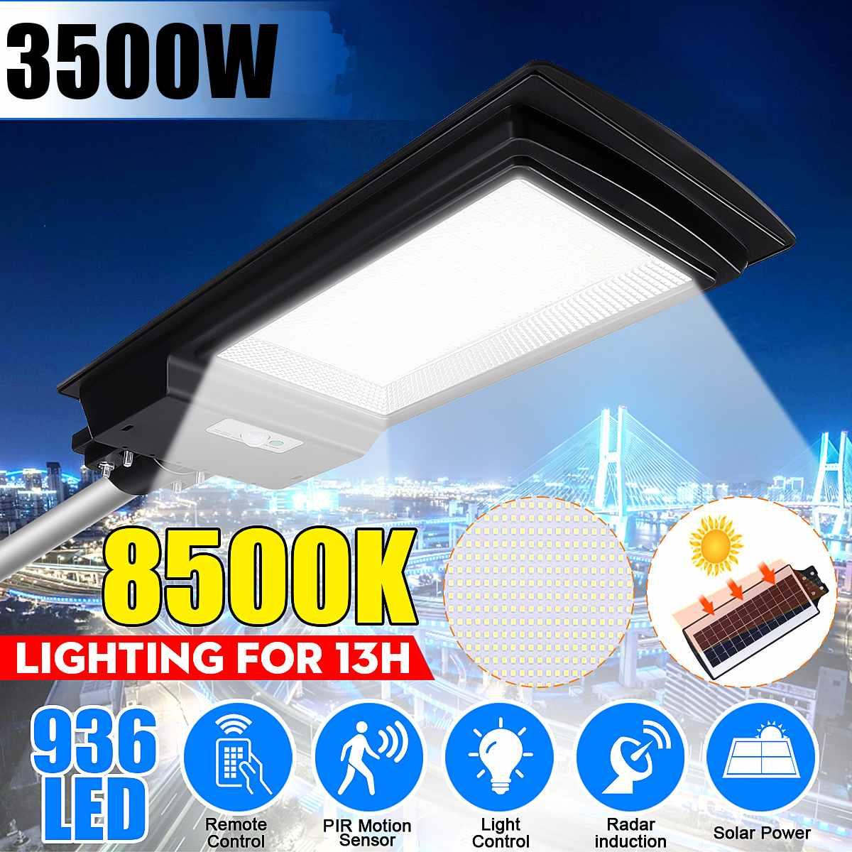 3500W IP65 LED Solar Street Light 436/936LED 8500K Light Radar Motion Sensor Wall Timing Lamp Remote Control Garden Outdoor Lamp