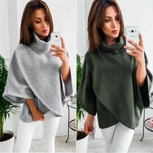 4 Colour S-XL Women's Loose Batwing Wool Poncho Winter Warm Coat Jacket Cloak Cape Parka turtleneck sweater top Outwear batwing sleeve wool cape coat