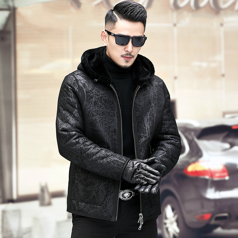 Genuine Leather Jacket Men Winter Natural Sheep Fur Coat Hooded Shearling Jacket Wear Both Sides A19-XX6603-2 KJ3818