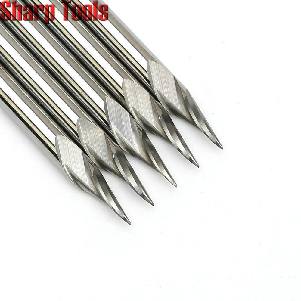 0.2-0.5mm Ângulo de Ponta 3.175*30 V Escultura 1 Ferramentas Flauta Espiral Carboneto De Bits de Gravação CNC Router grooving Fresagem Cortadores de Metal