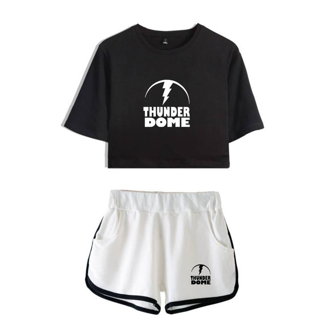 Thunderdome music Festival Printed Hip Pop Summer Cool Two Pieces Sets Navel Women T-shirts+shorts Harajuku Fashion Pullover Set 3