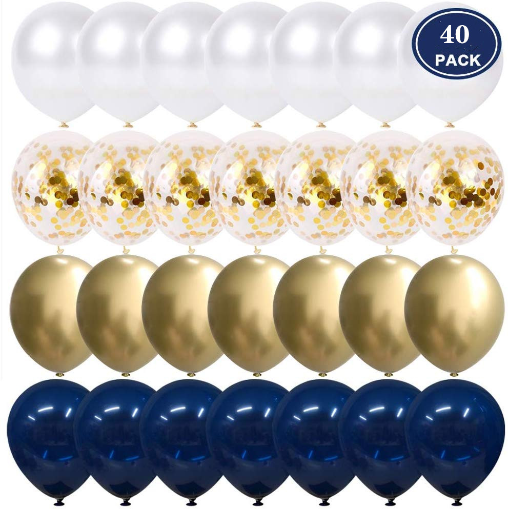 20/40pcs 10 Inch Metallic Gold White Pearl Balloons Baby Shower Wedding Birthday Party Ink Blue Gold Confetti Ballon Decor Kid