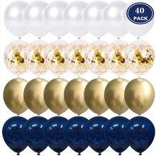 20/40 stücke 10 zoll Metallic Gold Weiß Perle Luftballons Baby Dusche Hochzeit Geburtstag Party Tinte Blau Gold Konfetti Ballon Decor kid