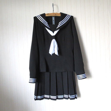 New Arrival Japanese Anime Cosplay Costumes School Girl Uniforms Long Sleeve Black Shirt Skirt With Tie