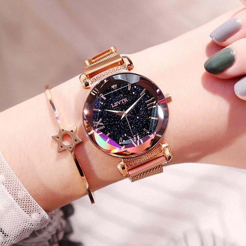 US $3.64 27% OFF|Luksusowe kobiety zegarki moda elegancka klamra magnetyczna Vibrato fioletowy panie zegarek 2019 nowy Starry Sky cyfra rzymska zegar