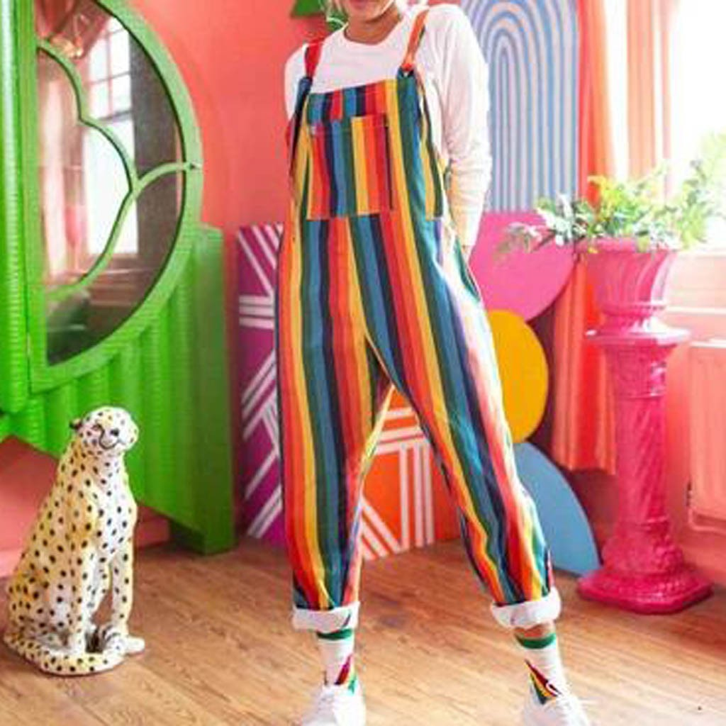 Fashion Women Casual Holiday Loose Long Pant Trousers Overalls Sexy Sleeveless Striped Rainbow Pocket Lace-up Jumpsuit Romper#g3