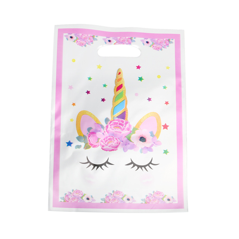 10pcs Plastic Gift Bags Candy Bag Loot Bags For Kids Birthday Party AG