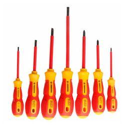EASY PENGGONG 7 sztuk zestaw wkrętaków izolowanych 1000V Phillips/szczelinowe elektryk zestaw wkrętaki napięcie magnetyczne CR V ręcznie w Zestawy narzędzi ręcznych od Narzędzia na