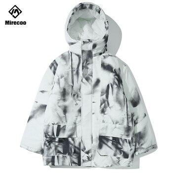 Ink painting Padded Jacket Thick Long Commander Jacket Men Hooded Winter Jacket Parka Men Hip Hop Coat Men Streetwear Outwear