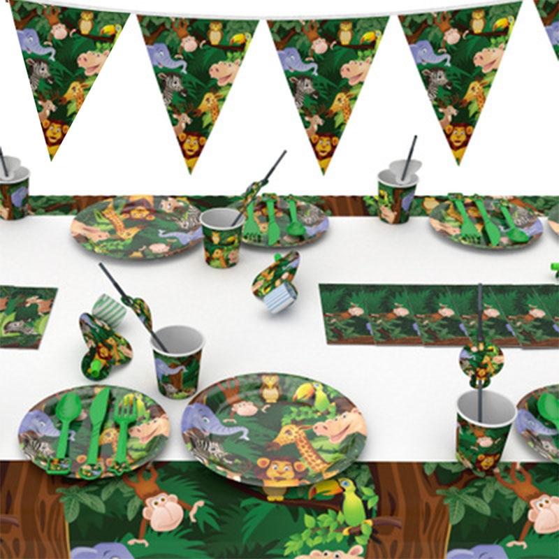 Jungle Birthday Party Decors Disposable Tableware Kit Cups Plates Napkin Kids Birthday Safari Party Supplies
