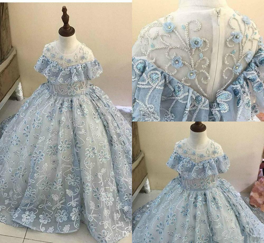 Light Blue Flower Girl Dresses For Wedding Tulle Appliqued Beads Sequins Ball Gown Little Girls Pageant Dress First Communion Go