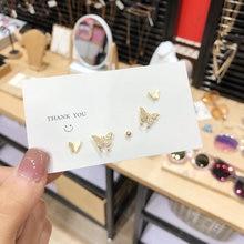 Набор сережек гвоздиков в виде бабочек серьги гвоздики стразы