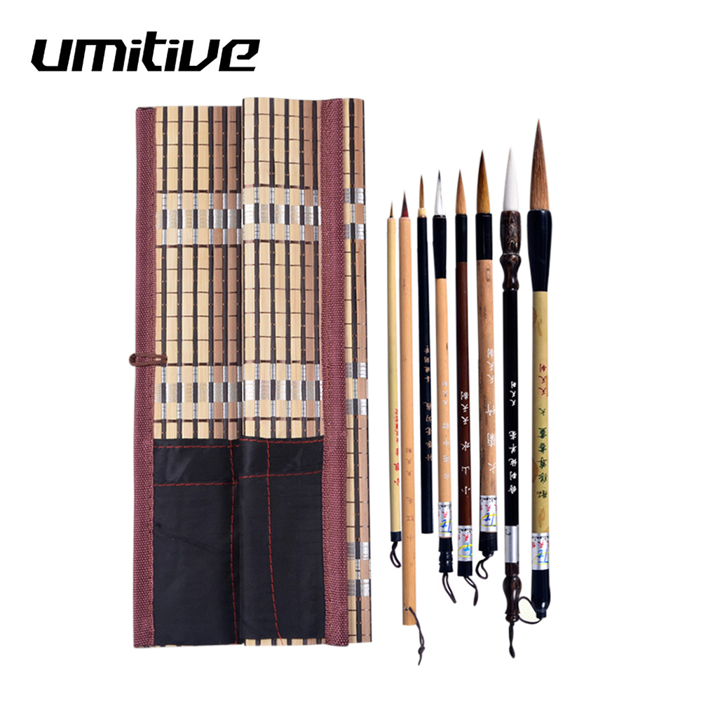 Umitive 5PCS/Set Bamboo Traditional Chinese Calligraphy Brushes Set Writing Art Painting Supplies