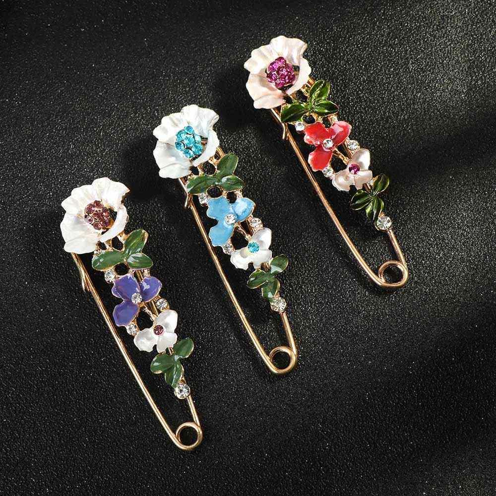 Indah Wanita Berlian Imitasi Bunga Bros Kerah Syal Pin Bros Fashion Perhiasan Hadiah untuk Wanita Pakaian Aksesoris