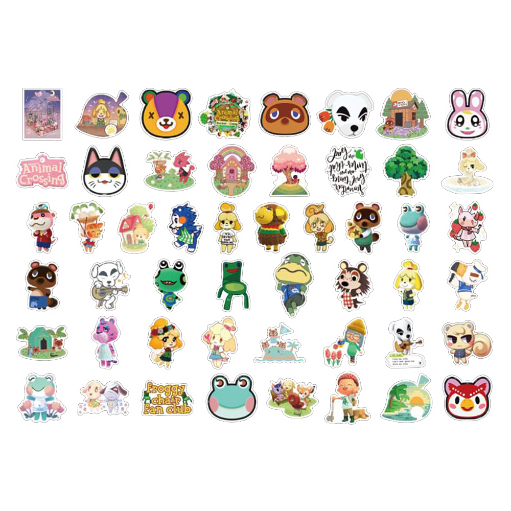 Best Gifts for Teen Girls Boys Kids Children Waterproof Cool and Trendy Cute Stickers Animal Crossing Cartoon Stickers for Switch Laptop Water Bottle Luggage Skateboard Helmet Bike Phone 50pcs Pack