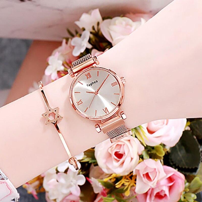 TEPHEA Women's Fashion Luxury Watch Exquisite Simple Dial Casual Dress Creative Bracelet Watch Ladies Quartz Watches Reloj Mujer